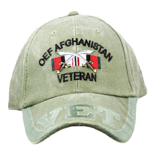 OEF Afghanistan Vet Embroidered Military Baseball Cap - Star Spangled 1776