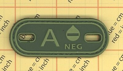 A- Blood Type OD Green PVC Patch