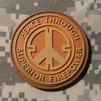 Peace Through Superior Firepower Burnt Orange PVC Morale Patch