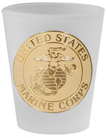 United States Marine Corps Crest Military Frosted Shot Glass - Star Spangled 1776