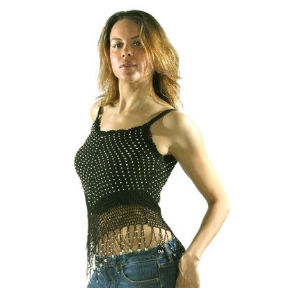 Women's Halter Top With Studs  Black (902)