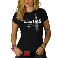 Share A Round With ISIS Black T-Shirt - Nine Line Military Women's Graphic Tee Shirt - Star Spangled 1776