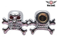 Chrome Skulls & Crossbones Valve Caps (2 Pk)