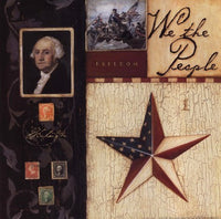 We The People Patriotic Art Print by Stephanie Marrott- 12 X 12 - Star Spangled 1776