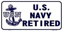 Navy Retired White 6 X 12 Metal Military License Plate