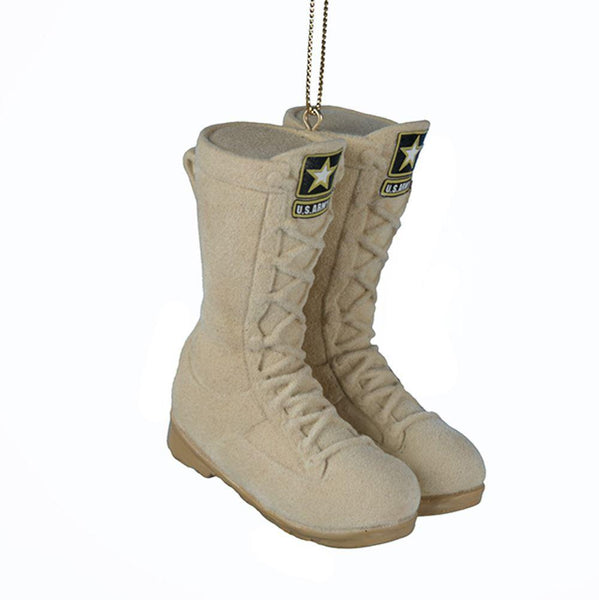 U.S. Army Flocked Combat Boot Military Ornament