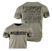 Serve No Man T-Shirt - Grunt Style Military Men's Grey Tee Shirt - Star Spangled 1776