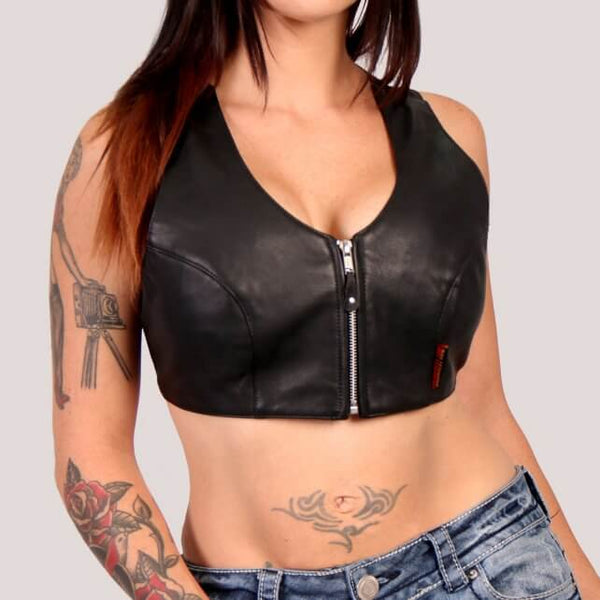 Genuine Leather Ladies Halter Top