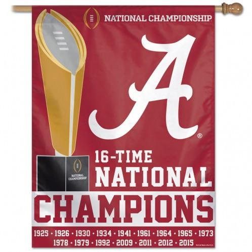 "Alabama Crimson Tide NCAA Champions Vertical Flag 27"" x 37"""