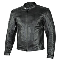 Renegade Men's Motorcycle Leather Jacket with Gun Pockets