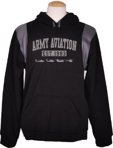 Army Aviation Est 1983 Helicopter Sweatshirt- Black - Star Spangled 1776