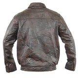 Distressed Leather Men's Bomber Jacket- Brown - Star Spangled 1776