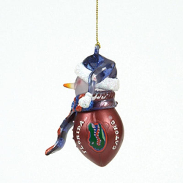Florida Gators Striped Acrylic Snowman Football Ornament
