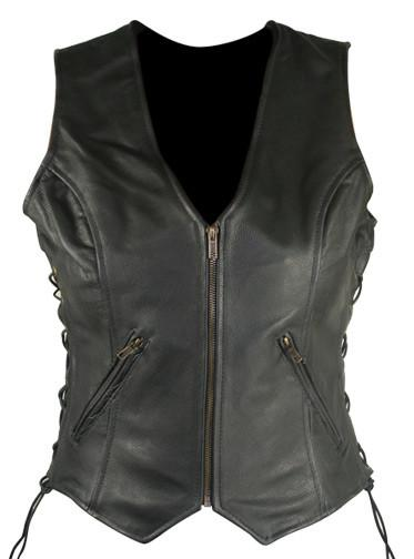 Women's Classic Side Lace Cowhide Black Leather Vest