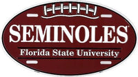 Florida State Seminoles NCAA Football Embossed Metal Oval License Plate Sign