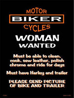 Woman Wanted 9 X 12 Metal Motorcycle Parking Sign