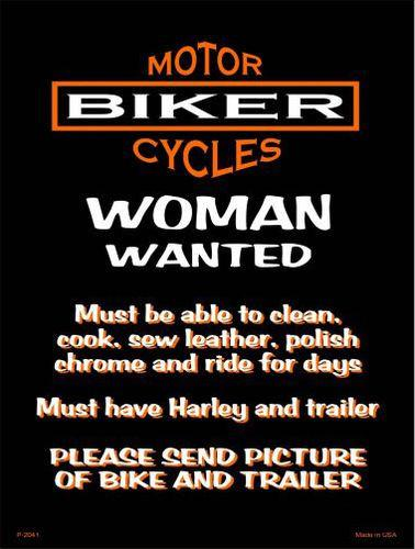 Woman Wanted 9 X 12 Metal Motorcycle Parking Sign - Star Spangled 1776