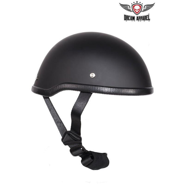 Flat Black Motorcycle Skull Cap Novelty Helmet