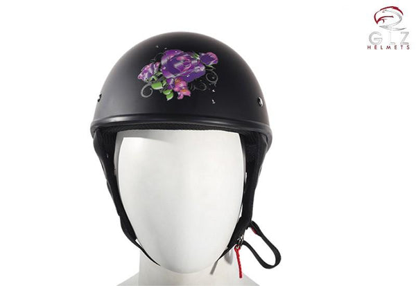 Flat Black DOT Approved Helmet With Purple Rose Tribal Design