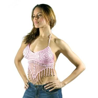Women's Halter Top With Studs and Fringes Pink (906) - Star Spangled 1776