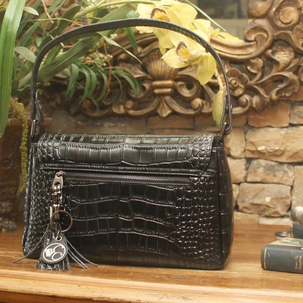 Black Crocodile Print Leather Concealed Carrie Shoulder Clutch