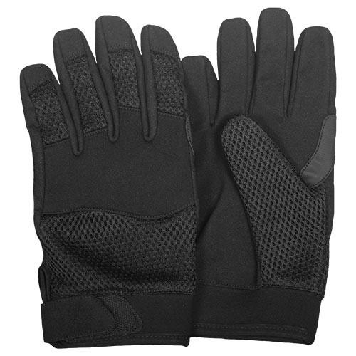 Lightweight Black Mesh Leather and Neoprene Tactical Gloves - Star Spangled 1776
