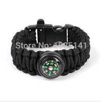 Paracord Self-Rescue Survival Bracelets with Whistle Buckle and Compass