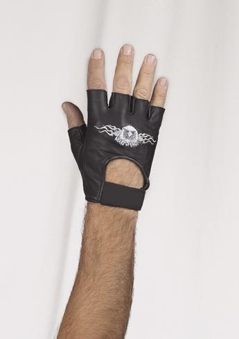 Motorcycle Fingerless Gloves With Eagle In Flames - Star Spangled LLC
