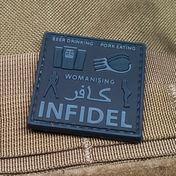 All Around Infidel SWAT Black PVC Morale Patch