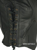Women's Classic Side Lace Cowhide Black Leather Vest - Star Spangled 1776