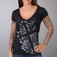 Cross & Roses V-Neck Burnout Ladies Black Tee