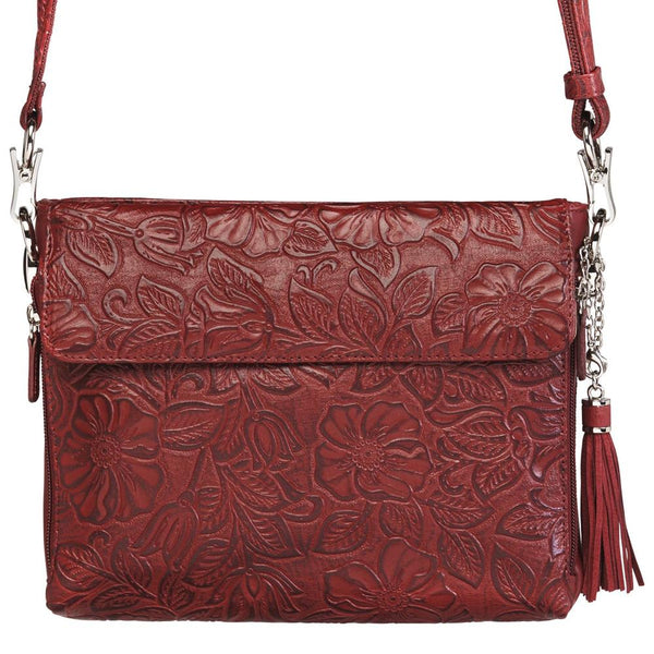 Tooled American Cowhide Concealed Carry Handbag- Cherry