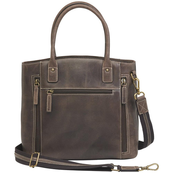 Distressed Buffalo Leather Concealed Carry Town Tote Bag