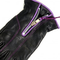 Ladies Fleece Lined Leather Driving Gloves With Purple Piping