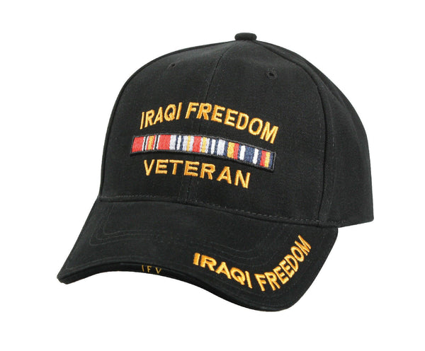 Iraqi Freedom Deluxe Low Profile Military Baseball Cap- Black - Star Spangled LLC