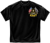 Army Double Flags T-Shirt- US Army Black Cotton Graphic Tee Shirt - Star Spangled 1776