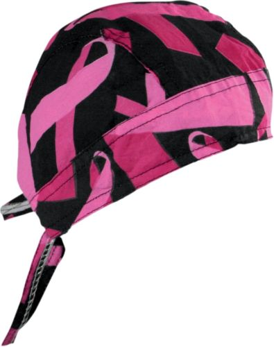 Pink Ribbon Black Cotton Flydanna Bandanna