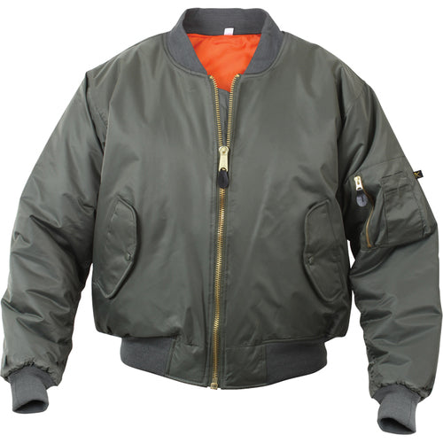Youth MA-1 Reversible Aviator's Flight Jacket- OD Green/Orange