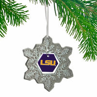 LSU Tigers NCAA Glass Snowflake Ornament