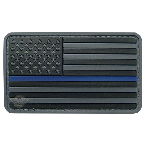 Thin Blue Line Flag Black 5ive Star PVC Morale Patch - Star Spangled 1776