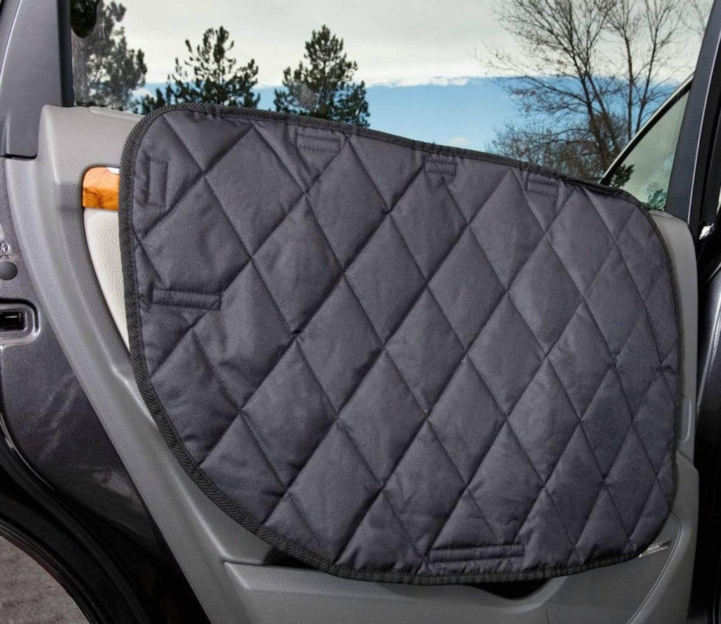 4Knines Luxury Waterproof Pet Car Door Cover - USA Based - Non-Slip Heavy Duty Quilted Waterproof Padded Material – Simple Damage Free Slide-in Tab - Two Door Guards (One for Each Side)