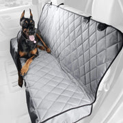 Dog Sitting on Premium Rear Seat Cover without Hammock Grey