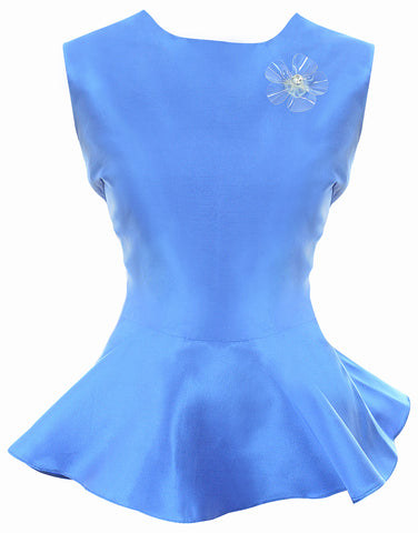 Top Peplo in Seta Bluette | Top | Giovanna Nicolai | CrossChic.com