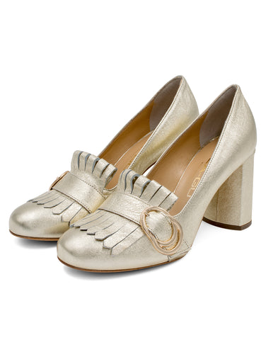 Pumps Laminato Gold | Pumps | Lea-Gu | CrossChic.com