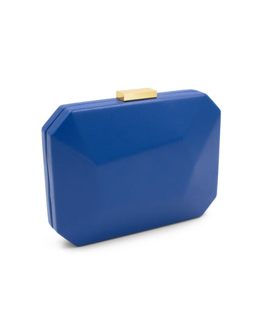 ADELE Oversized Faceted Pod Blue Cobalto | Clutches | Olga Berg | CrossChic.com
