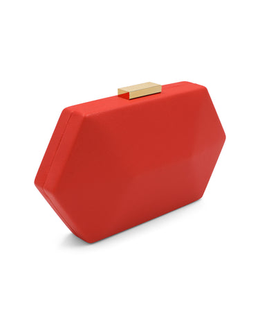 HARLEY Saffiano Facetted Pod Rosso | Clutches | Olga Berg | CrossChic.com