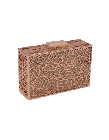 LILIANA Perforated Metal Pod Rose Gold | Clutches | Olga Berg | CrossChic.com