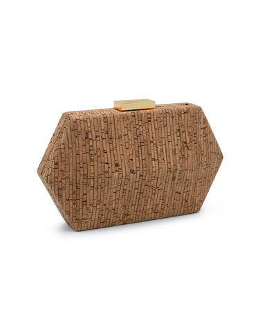 PARKER Cork Facetted Hex Pod Natural | Clutches | Olga Berg | CrossChic.com