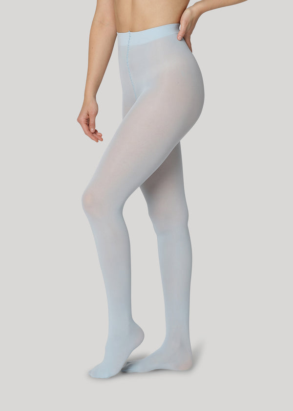 The Rebecca 50 denier in dusty blue is the classical medium coverage tights made using only recycled materials and 3D knitting technology for durability and longevity.