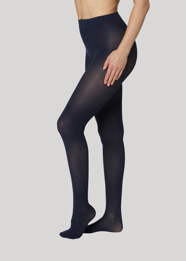 The Rebecca 50 denier in Midnight is the classical medium coverage tights made using only recycled materials and 3D knitting technology for durability and longevity.